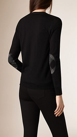 Check Detail Merino Wool Cardigan