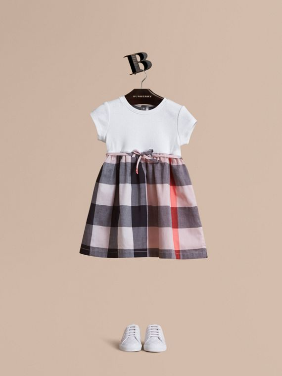 Check Cotton Jersey T-shirt Dress in Vintage Pink | Burberry