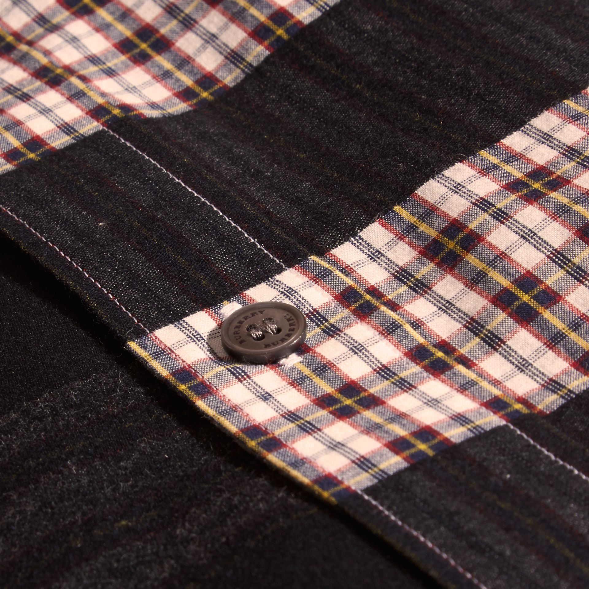 Burgundy red Check Jacquard Cotton Flannel Shirt Burgundy Red - gallery image 2