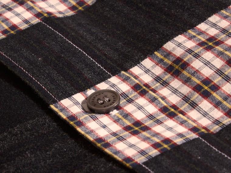 Rosso borgogna Camicia in jacquard di flanella di cotone con motivo check Rosso Borgogna - cell image 1