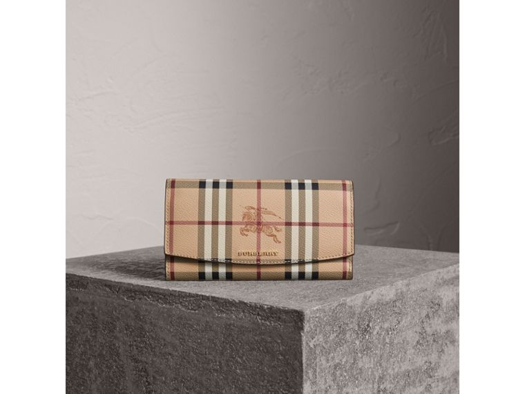 Haymarket Check and Leather Slim Continental Wallet in Mid Camel - Women | Burberry - cell image 4