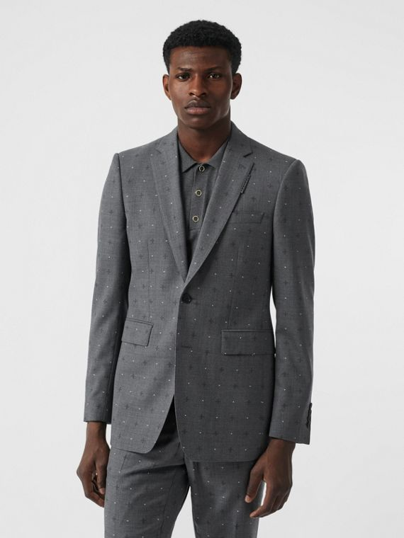 English Fit Fil Coupé Wool Cotton Tailored Jacket in Mid Grey Melange