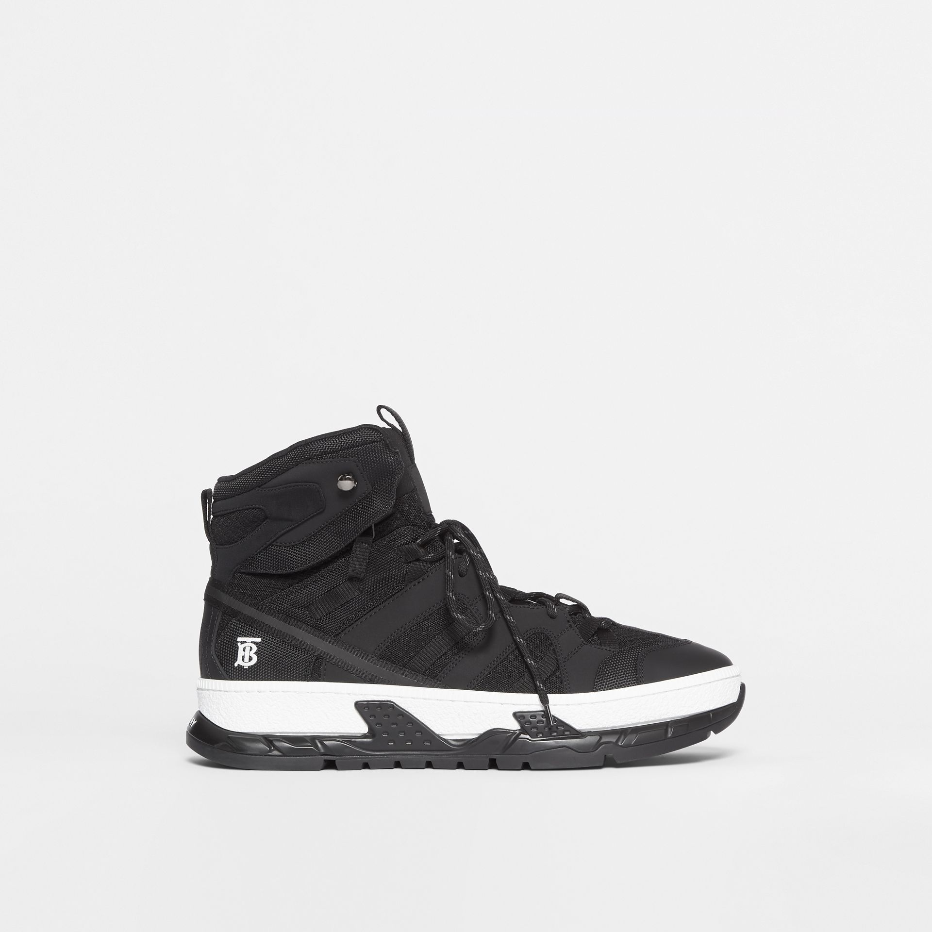 Mesh and Nubuck Union High-top Sneakers in Black - Men | Burberry United Kingdom - gallery image 5