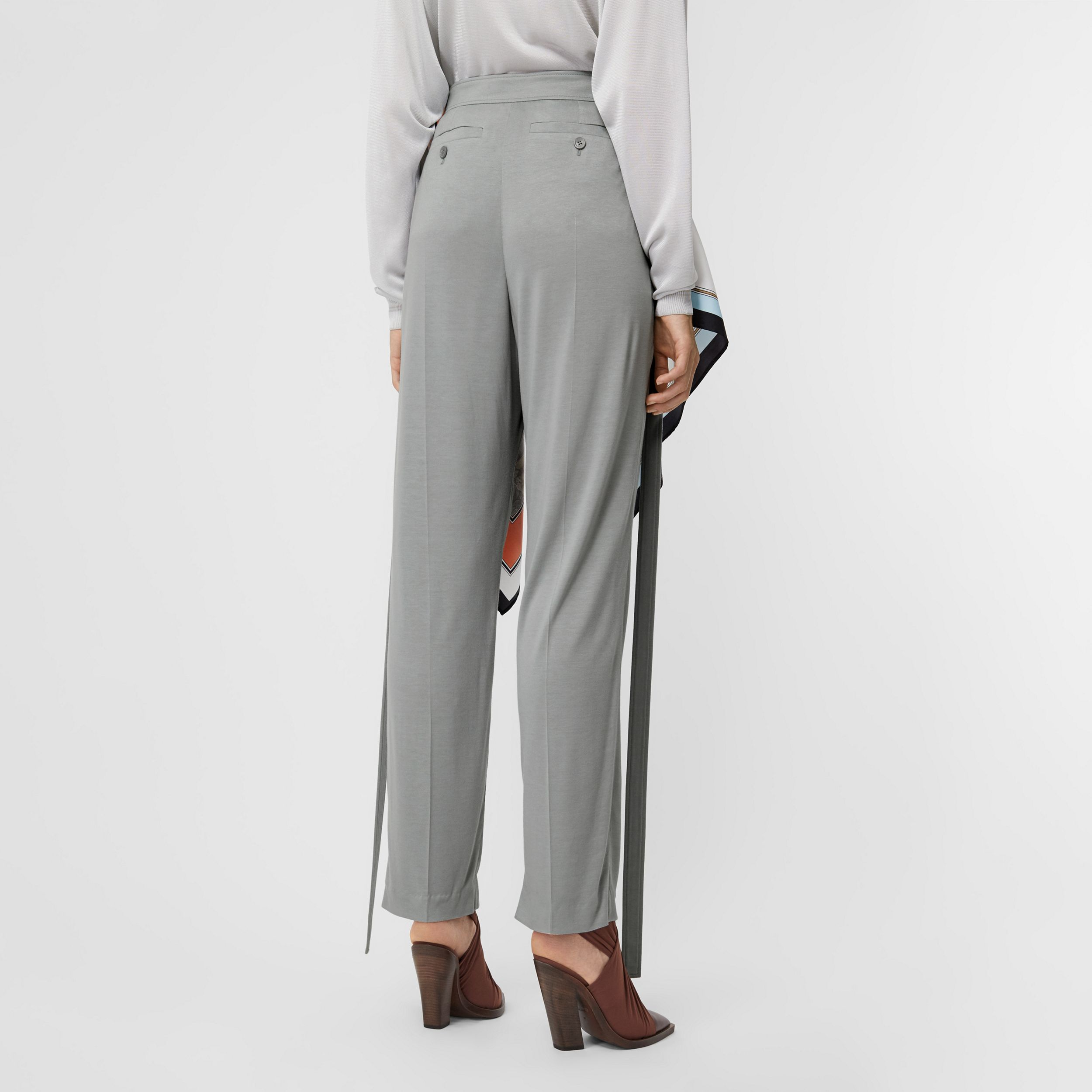 Strap Detail Jersey Tailored Trousers in Heather Melange - Women | Burberry - 3