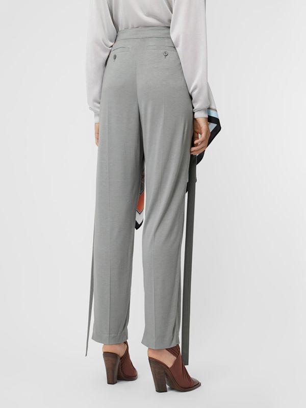 Strap Detail Jersey Tailored Trousers in Heather Melange - Women | Burberry Canada - cell image 2