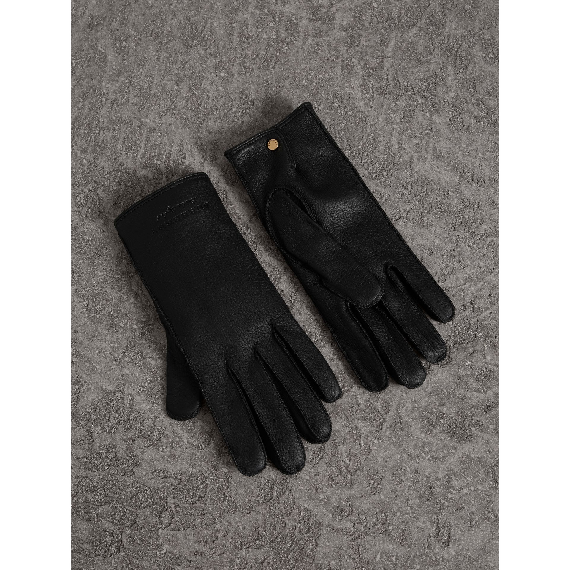 Deerskin Gloves in Black | Burberry Australia - gallery image 1