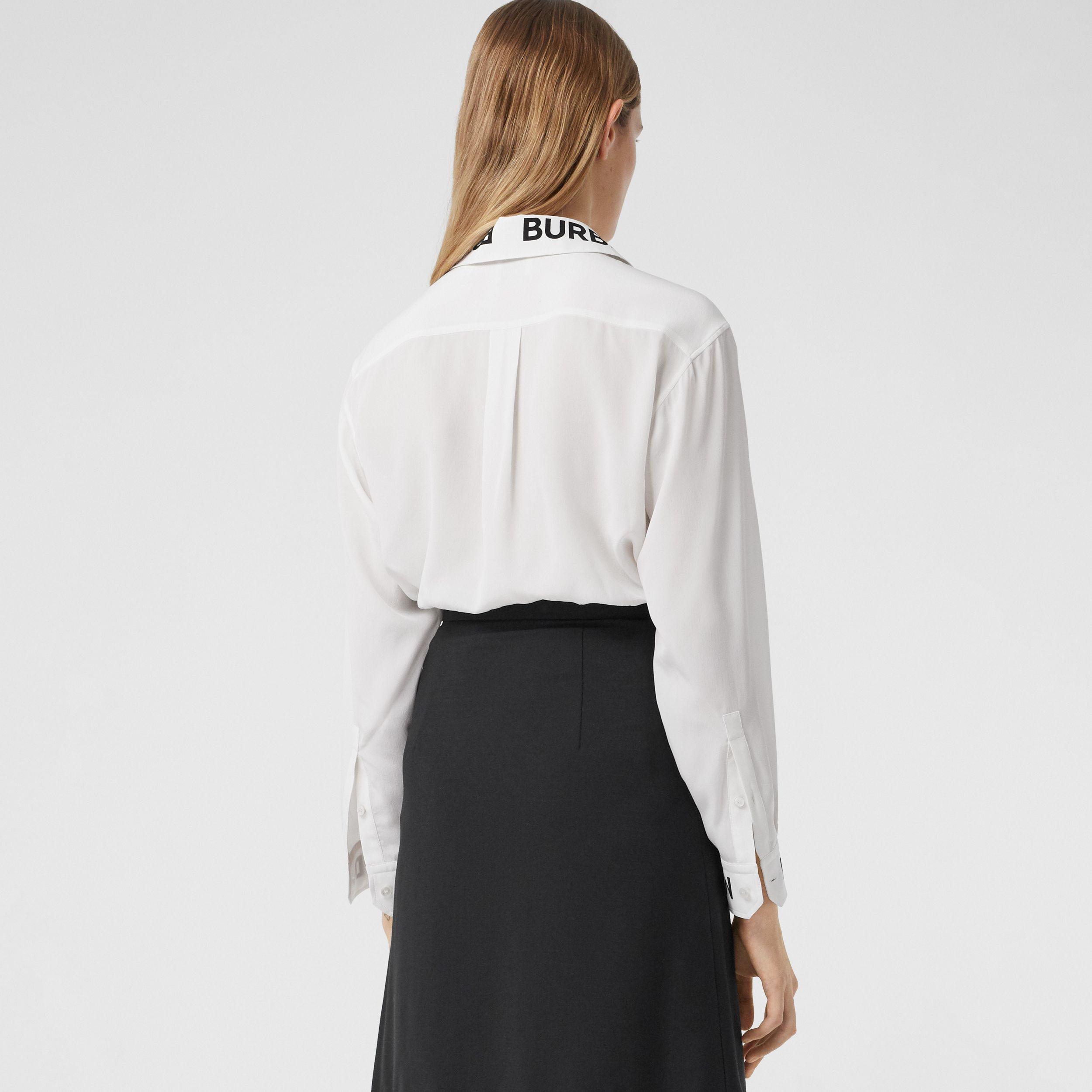 Logo Print Silk Crepe De Chine Shirt in Optic White - Women | Burberry - 3