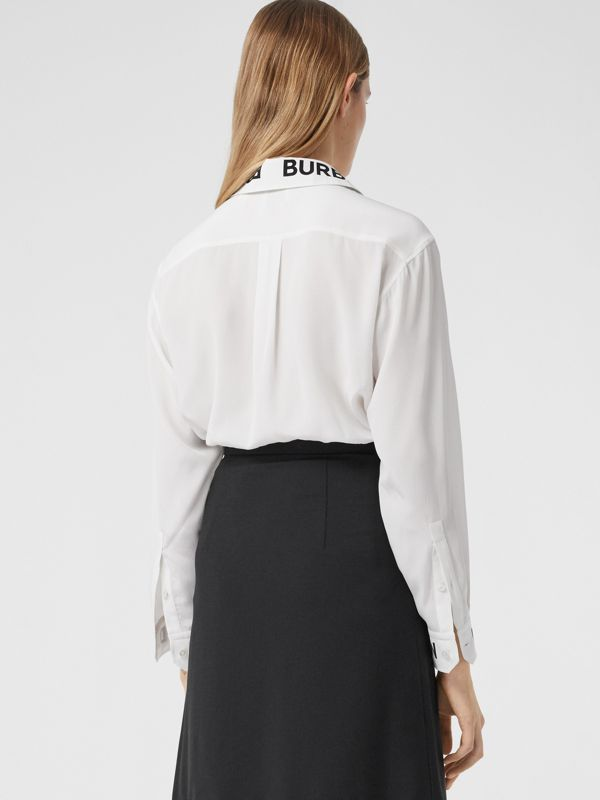 Logo Print Silk Crepe De Chine Shirt in Optic White - Women | Burberry Hong Kong S.A.R - cell image 2