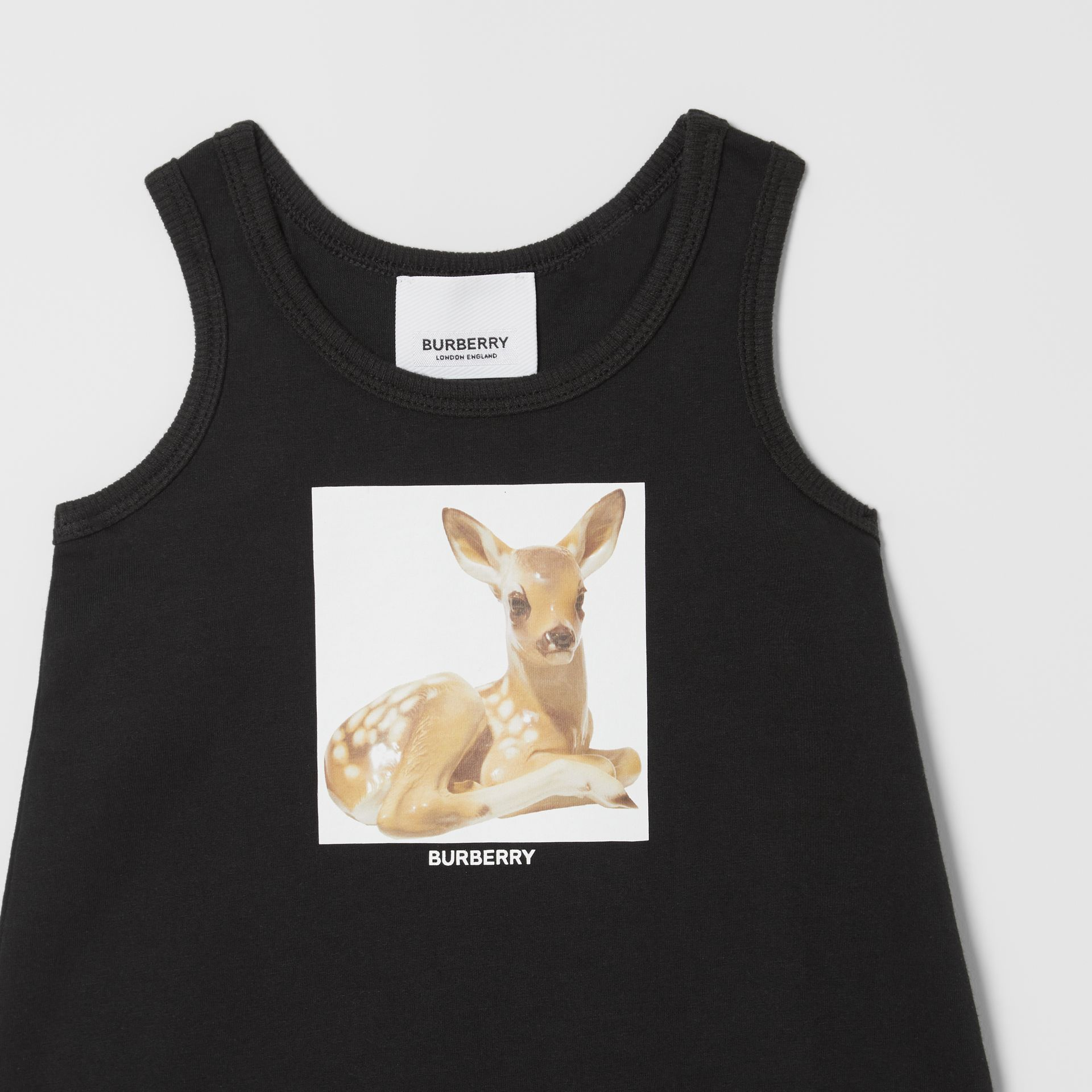 Deer Print Cotton Jumpsuit in Black - Children | Burberry Hong Kong S.A.R - gallery image 4