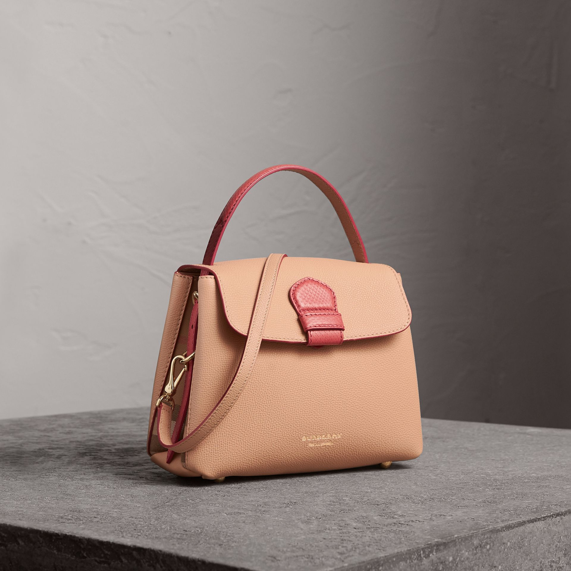 Small Two-tone Leather and House Check Tote in Pale Apricot - Women | Burberry - gallery image 0