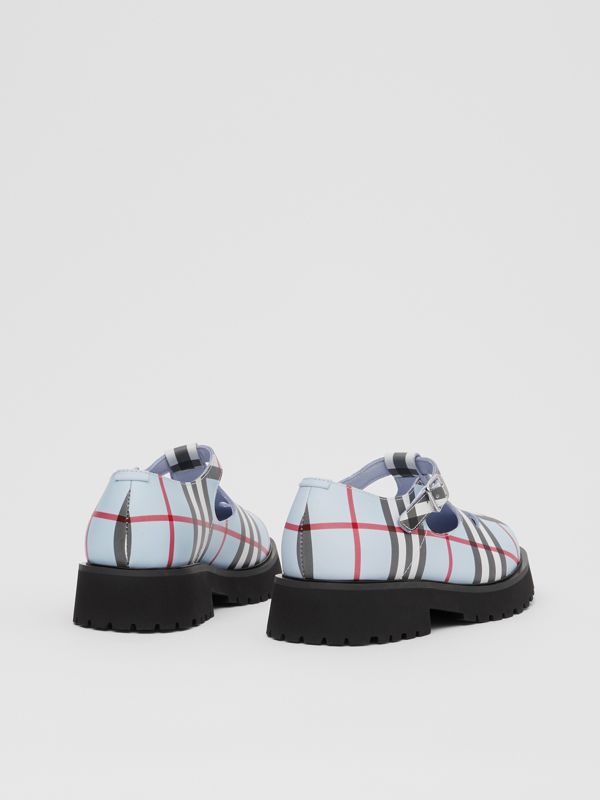 Vintage Check Leather T-bar Shoes in Pale Blue - Children | Burberry - cell image 2
