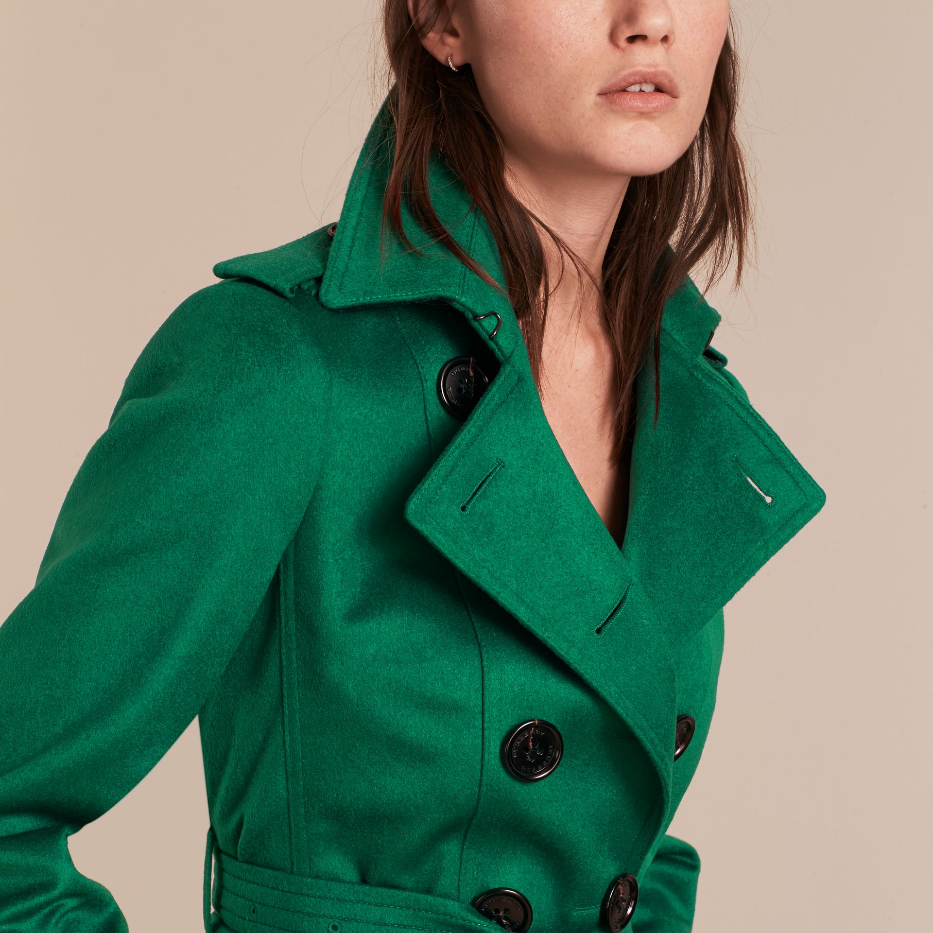 Sandringham Fit Cashmere Trench Coat Kelly Green - gallery image 5