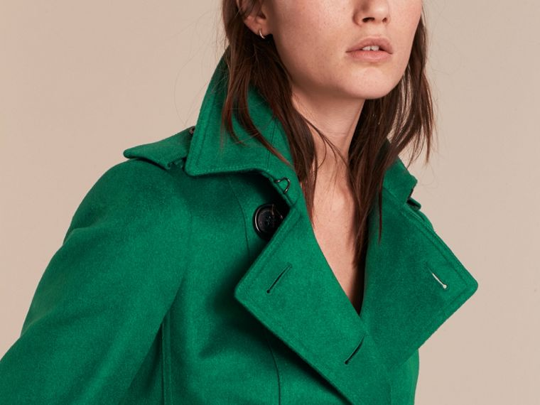 Sandringham Fit Cashmere Trench Coat Kelly Green - cell image 4