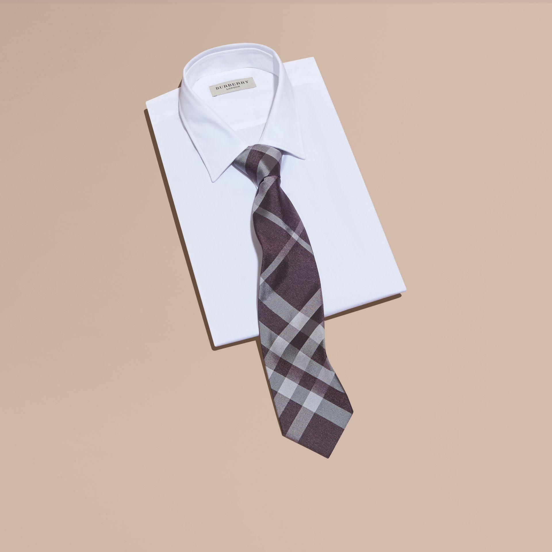 Heather Classic Cut Check Silk Tie Heather - gallery image 3