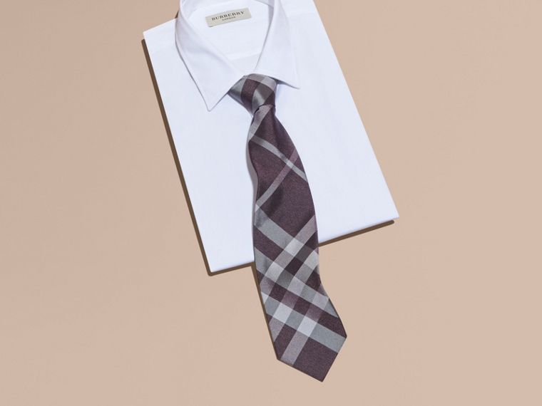 Heather Classic Cut Check Silk Tie Heather - cell image 2