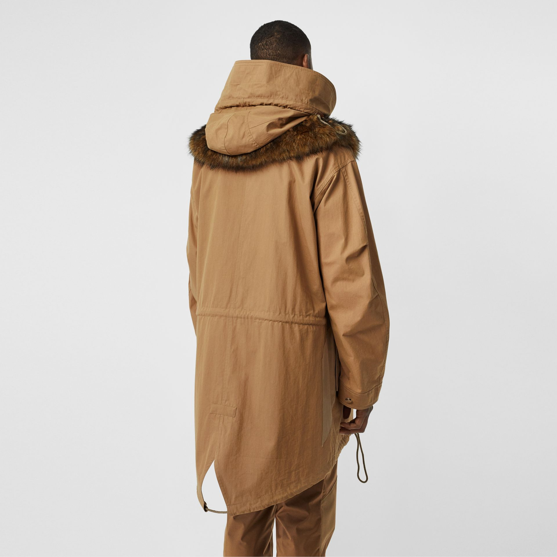Detachable Hood Cotton Blend Parka in Warm Walnut - Men | Burberry - gallery image 2
