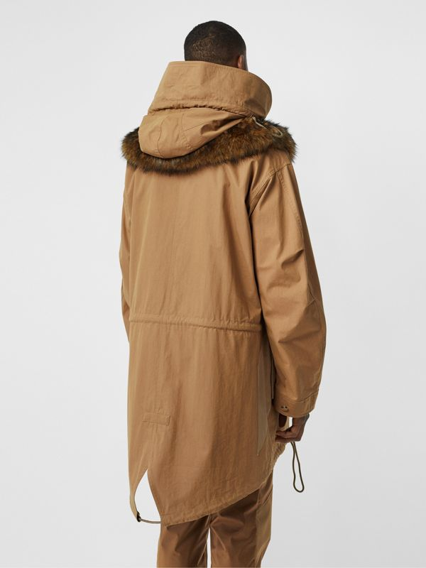 Detachable Hood Cotton Blend Parka in Warm Walnut - Men | Burberry - cell image 2