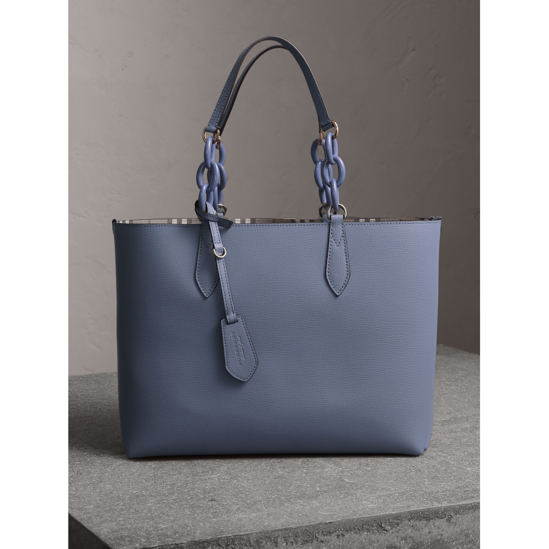 The Medium Reversible Tote with Resin Chain in Slate Blue - Women | Burberry Canada - gallery image 1