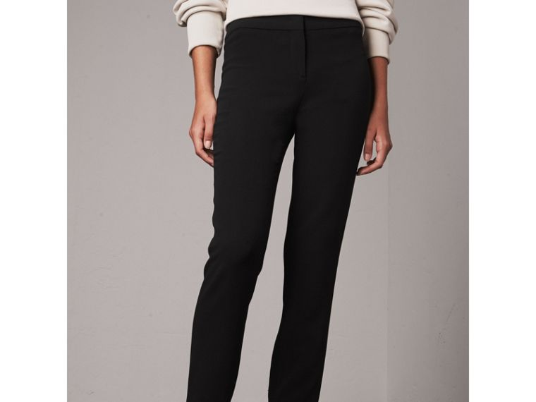 Slim Fit Faille Trousers in Black - Women | Burberry - cell image 4
