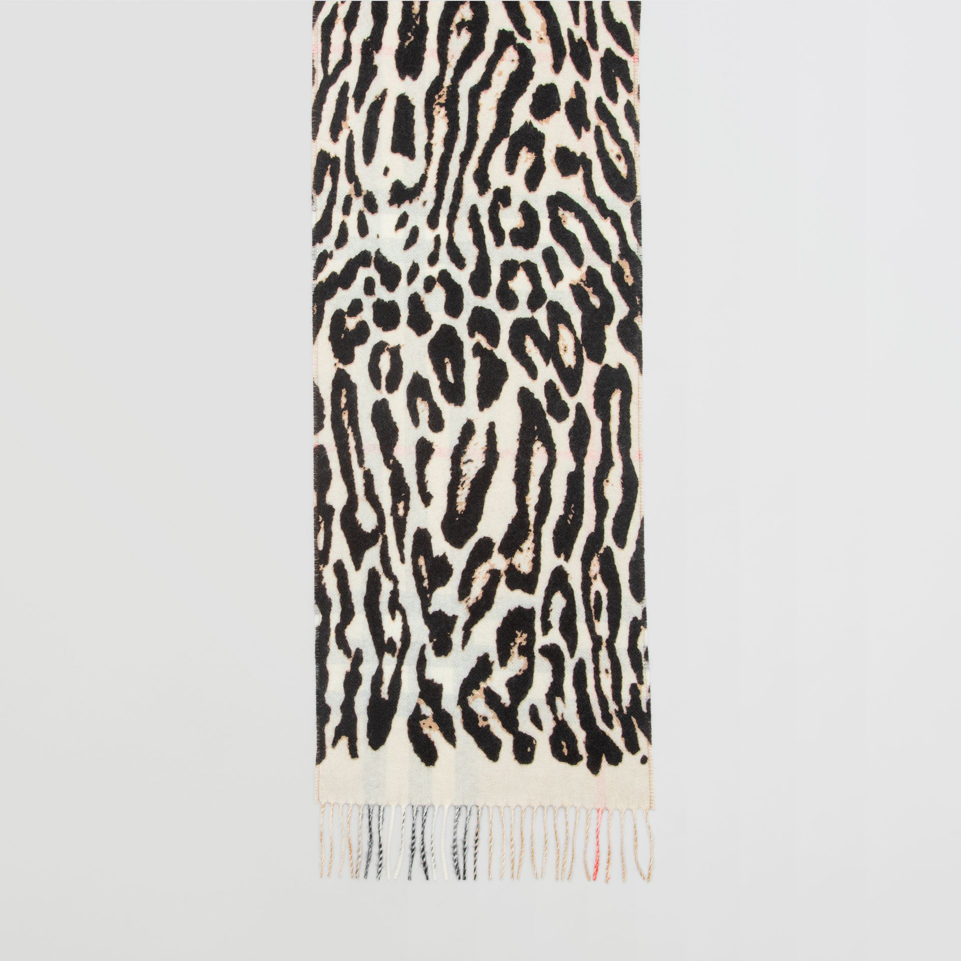 Leopard Print and Check Cashmere Scarf in Black | Burberry - gallery image 4