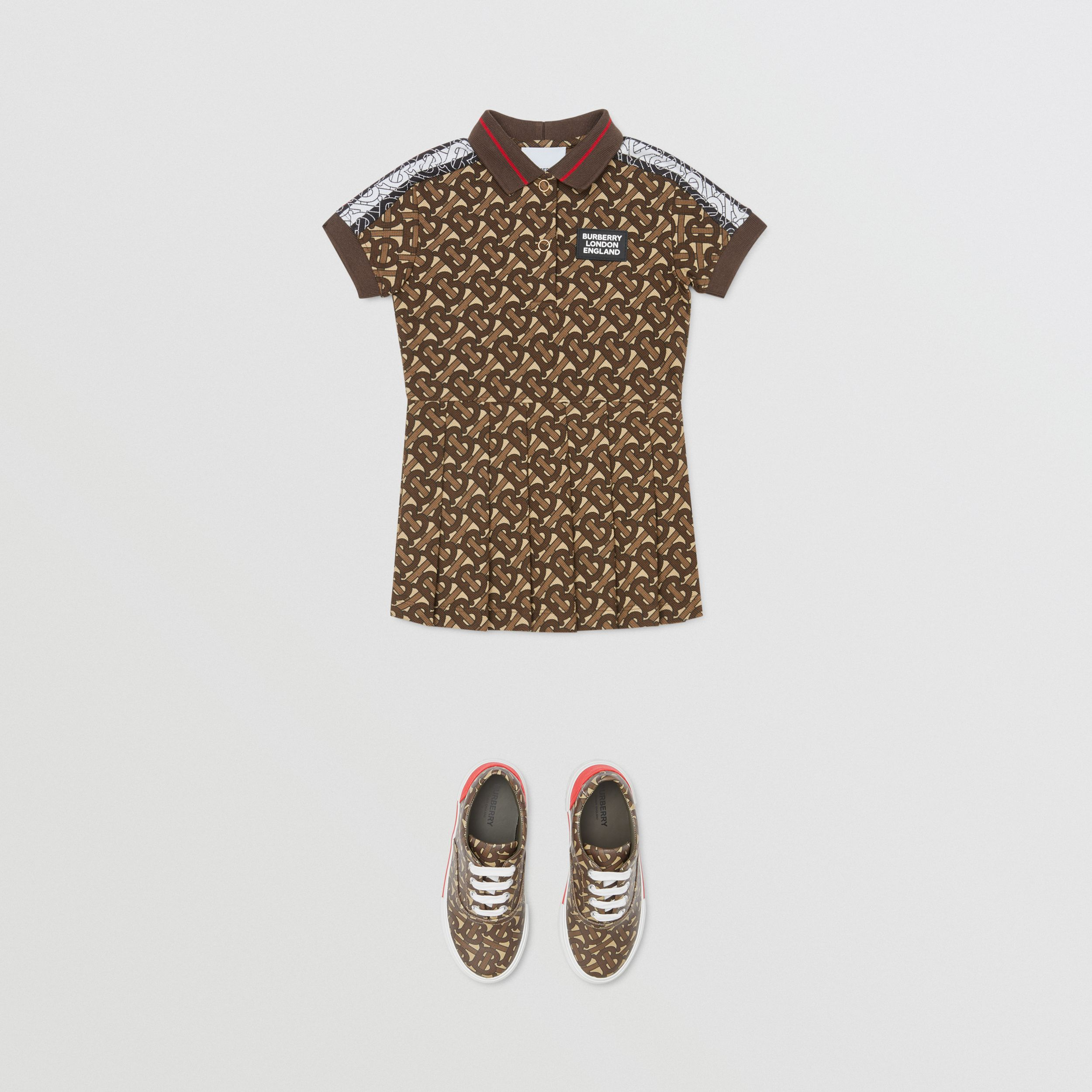 Monogram Stripe Print Cotton Polo Shirt Dress in Bridle Brown - Children | Burberry - 3