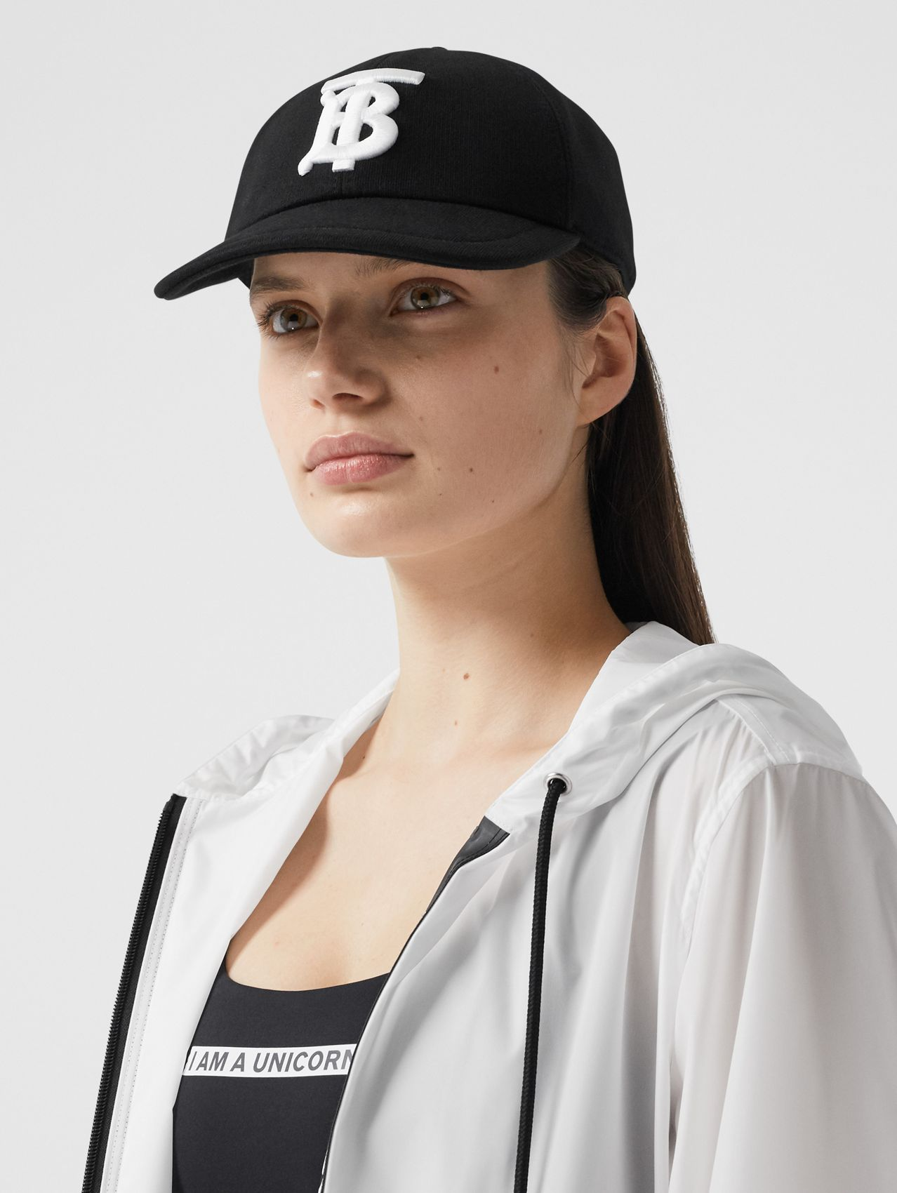 Monogram Motif Cotton Jersey Baseball Cap in Black
