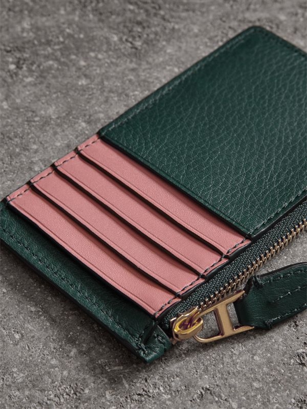 Two-tone Leather Zip Card Case in Dark Cyan | Burberry Australia - cell image 2