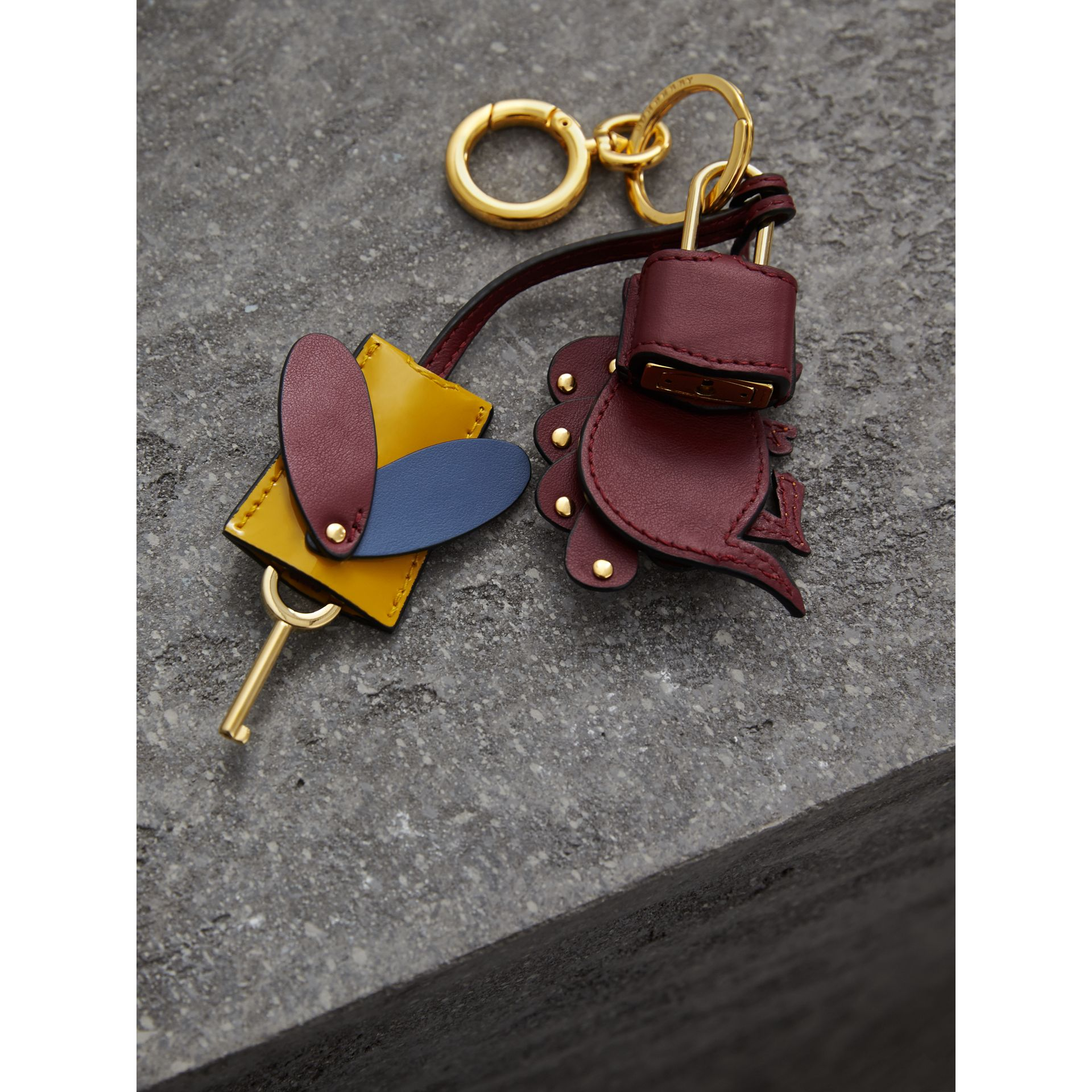 Beasts Leather Key Charm and Padlock in Citrus Yellow - Women | Burberry - gallery image 3