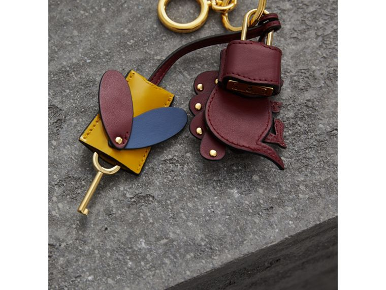 Beasts Leather Key Charm and Padlock in Citrus Yellow - Women | Burberry - cell image 2