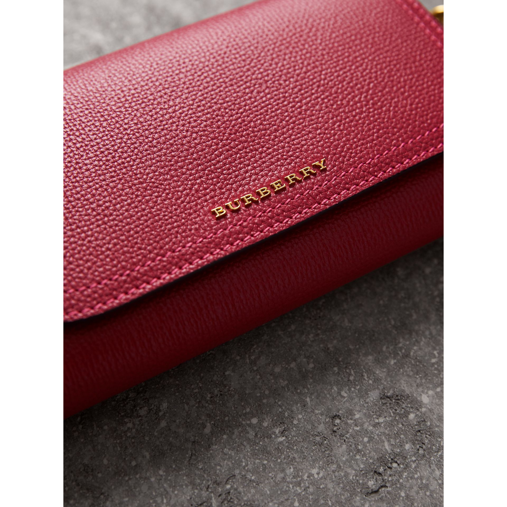 Topstitch Detail Leather Wallet with Detachable Strap in Parade Red/multicolour - Women | Burberry Singapore - gallery image 1