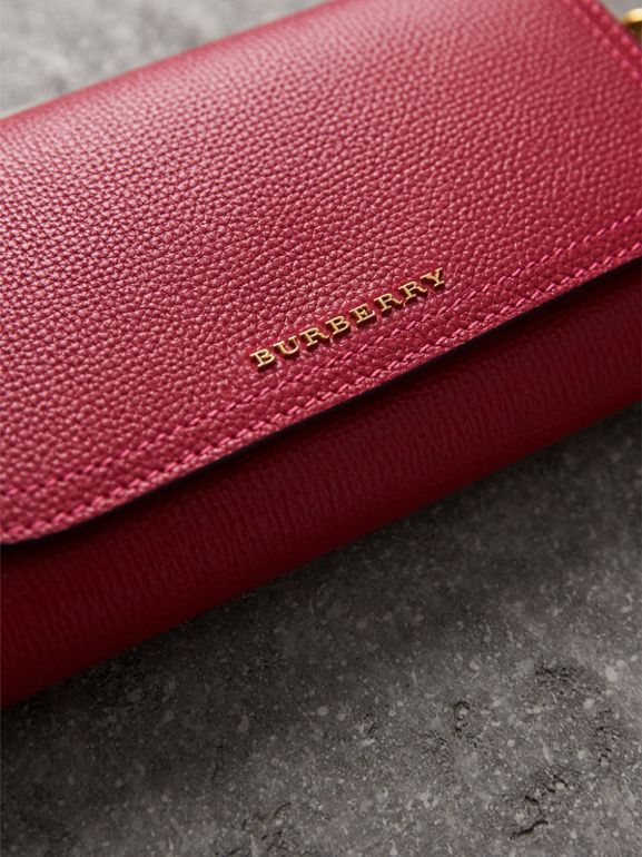 Topstitch Detail Leather Wallet with Detachable Strap in Parade Red/multicolour - Women | Burberry - cell image 1
