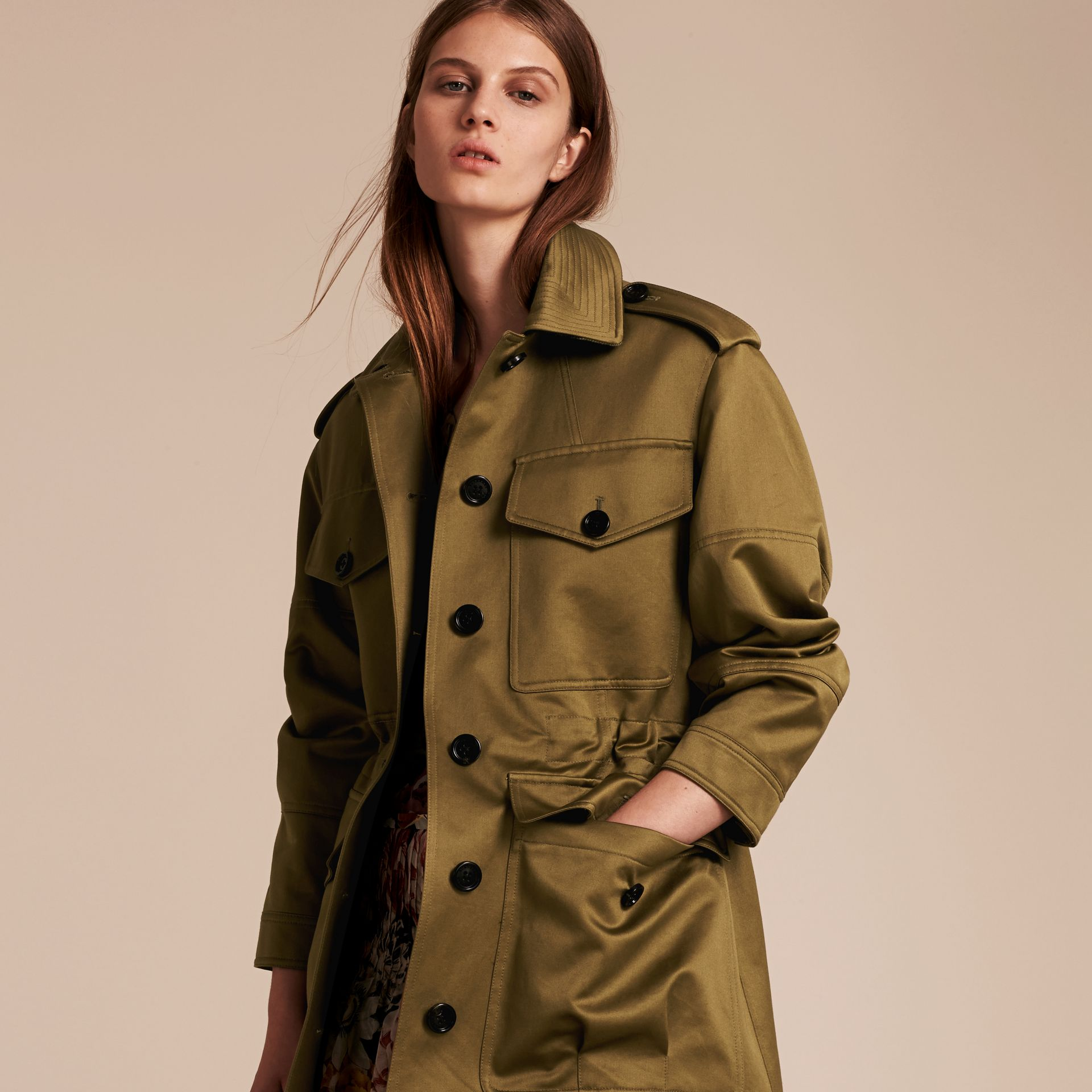 Olive Oversize Check Lined Cotton Field Jacket - gallery image 7
