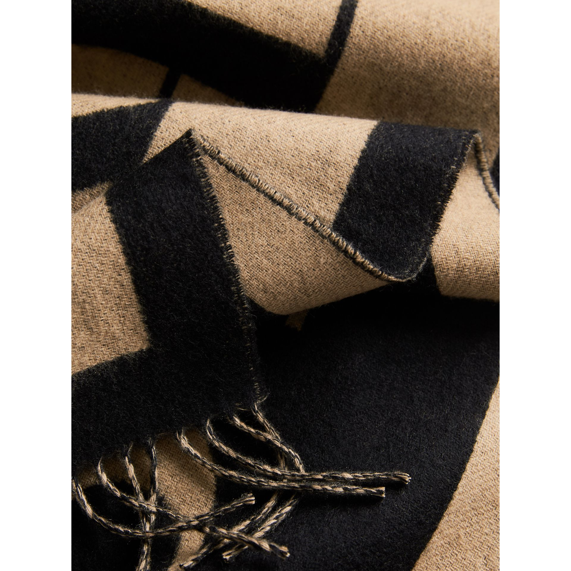 Emblem Print Cashmere Scarf in Camel | Burberry United Kingdom - gallery image 1