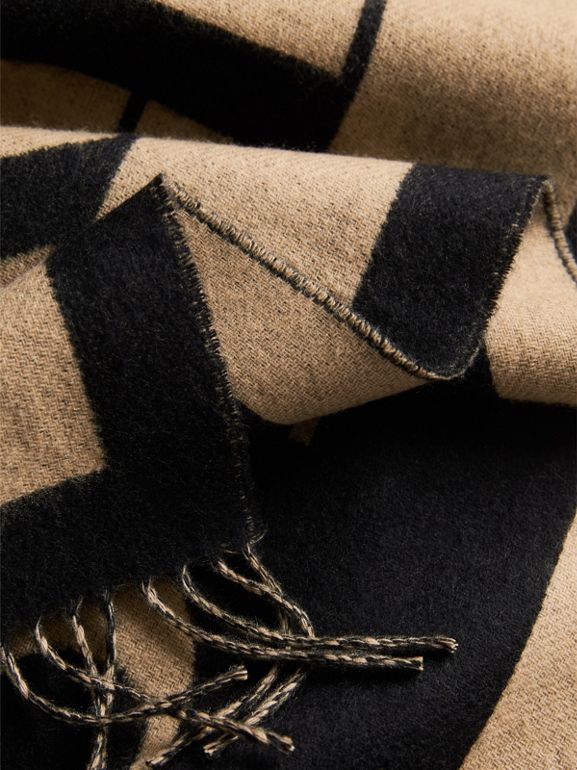 Emblem Print Cashmere Scarf in Camel | Burberry - cell image 1