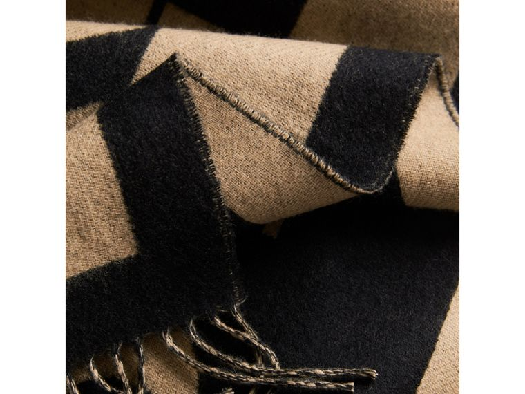 Emblem Print Cashmere Scarf in Camel | Burberry United Kingdom - cell image 1