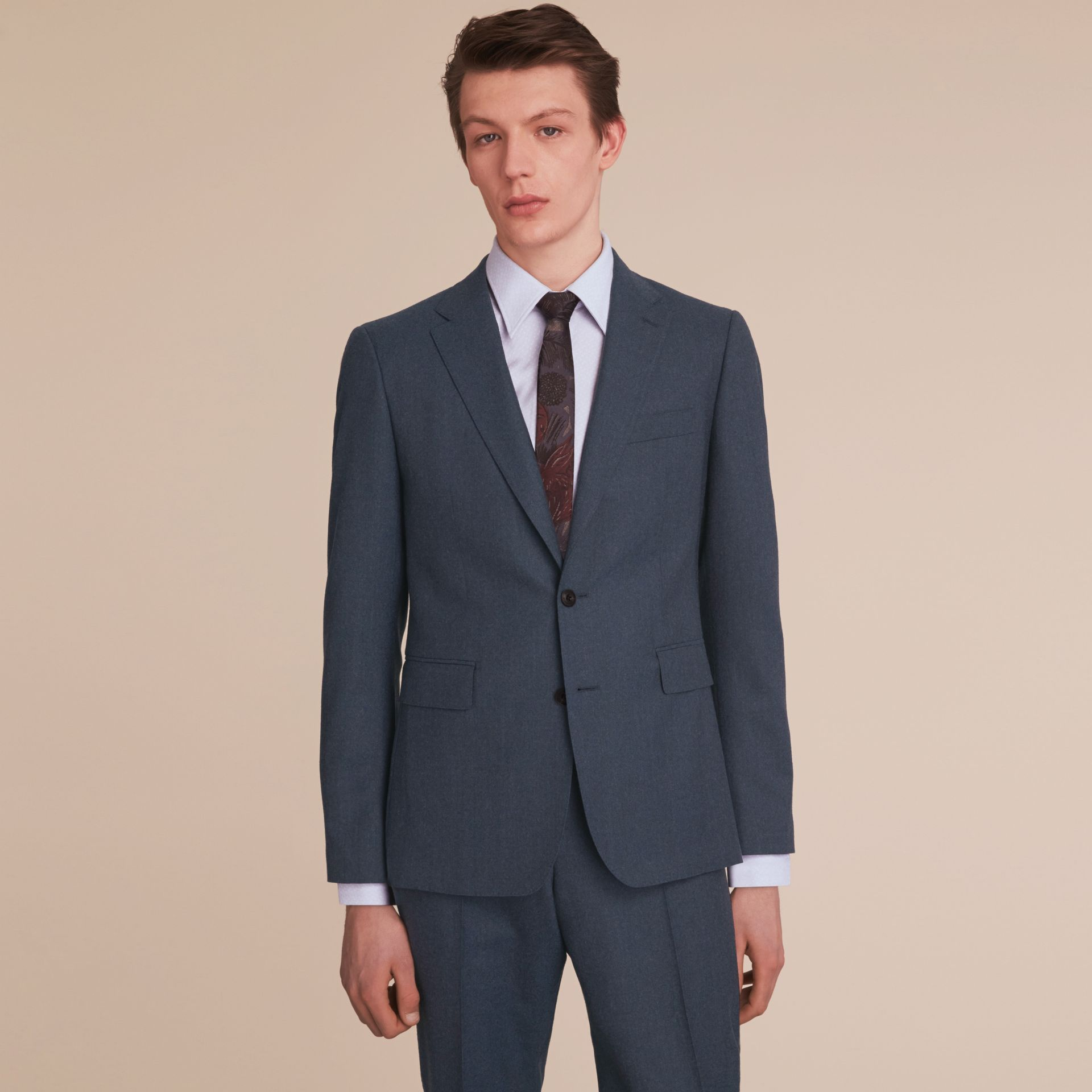 Soho Fit Wool Flannel Suit in Petrol Blue Melange - Men | Burberry - gallery image 8
