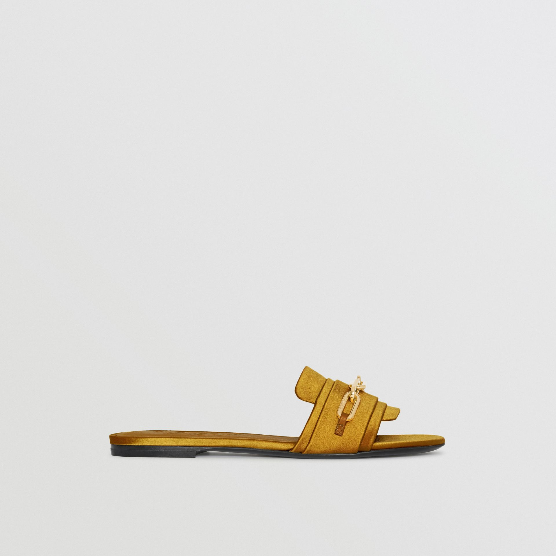 Link Detail Satin and Leather Slides in Antique Yellow - Women | Burberry Australia - gallery image 5