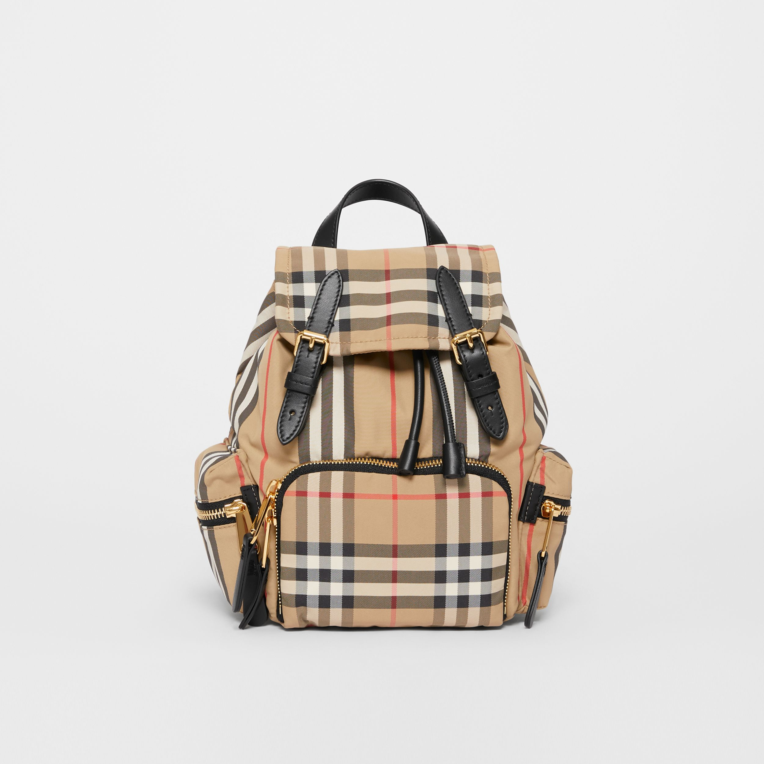 The Small Rucksack in Vintage Check and Icon Stripe in Archive Beige - Women | Burberry United Kingdom - 1