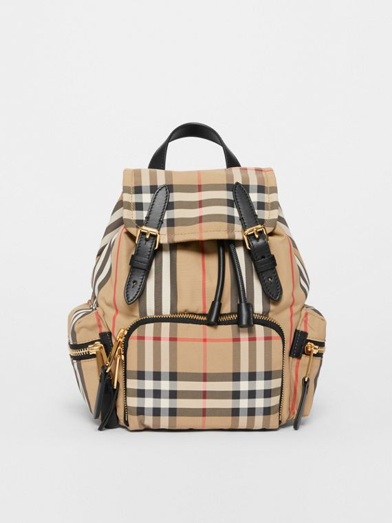 The Small Rucksack in Vintage Check and Icon Stripe in Archive Beige