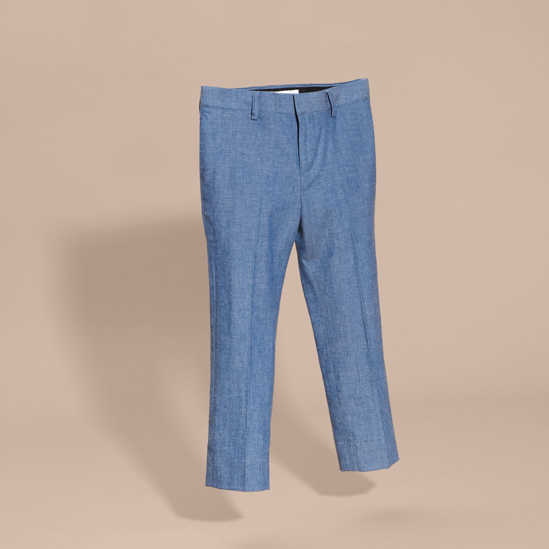 Stone blue Tailored Cotton Trousers - gallery image 3