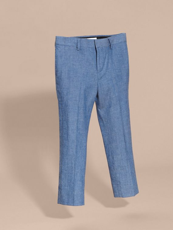 Tailored Cotton Trousers in Stone Blue - Boy | Burberry - cell image 2