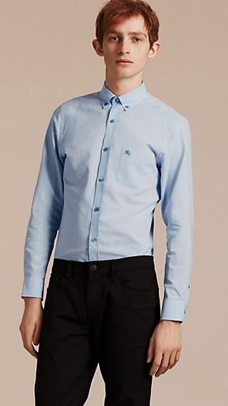 Chemise en coton et lin à col boutonné