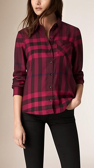Camicia in flanella di cotone con motivo check