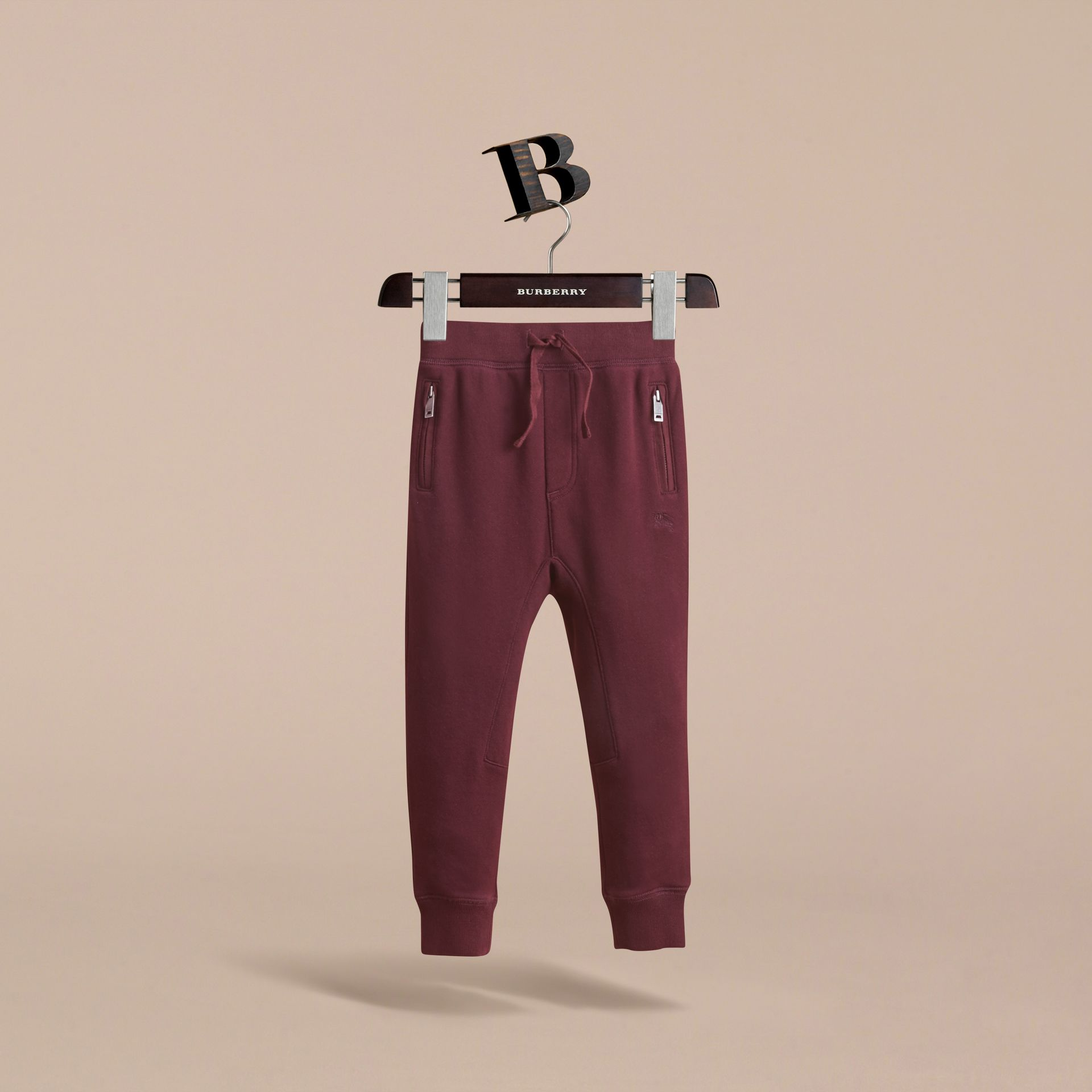 Drawcord Cotton Sweatpants in Burgundy - Boy | Burberry - gallery image 3