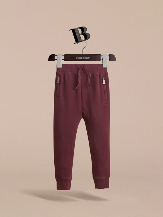 Drawcord Cotton Sweatpants in Burgundy - Boy | Burberry Australia - cell image 2