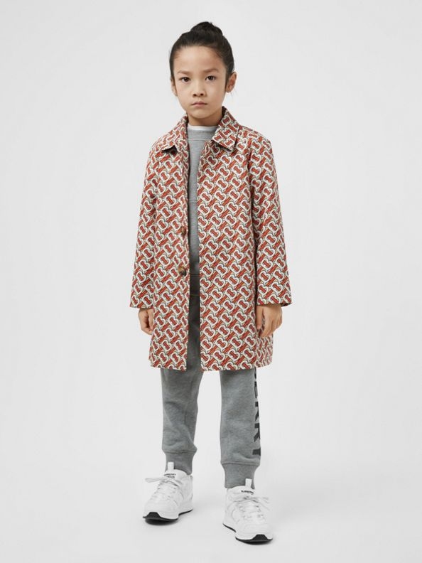 Monogram Print Cotton Car Coat in Vermilion Red