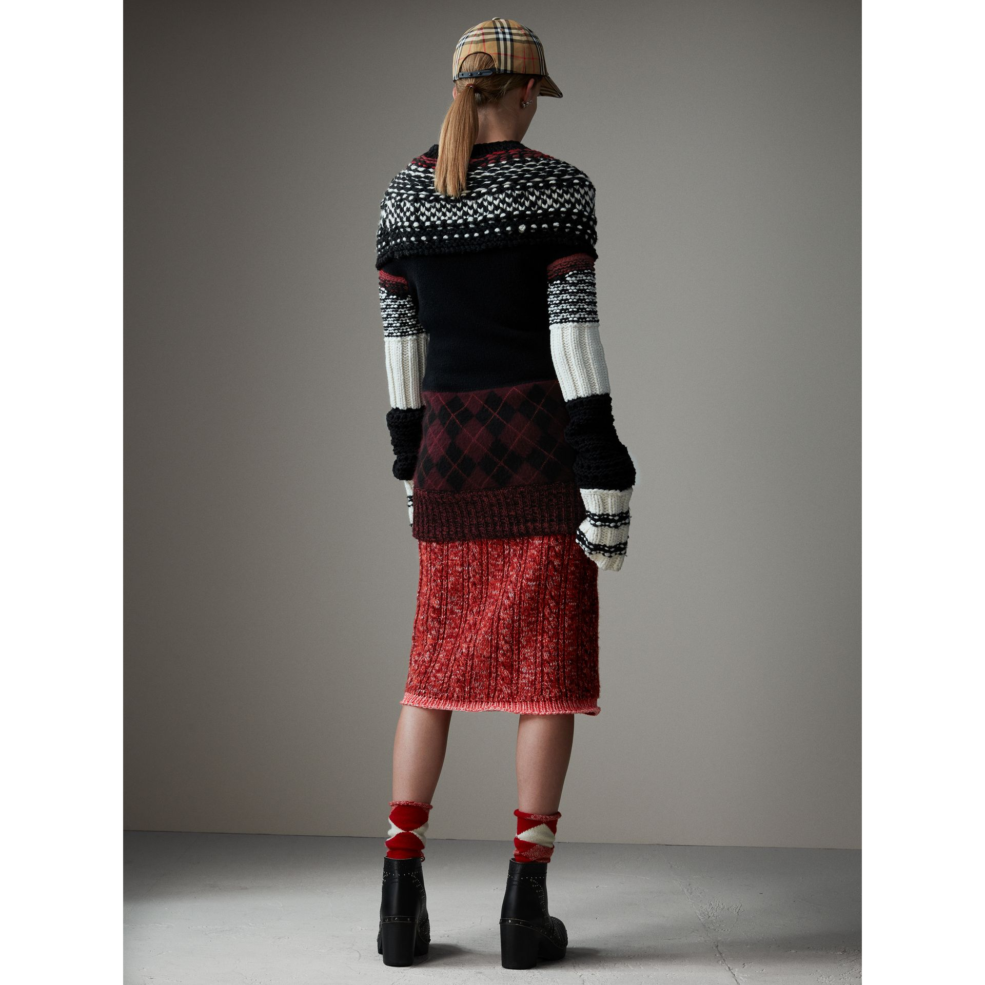Hand-knitted Yoke Cashmere Wool Sweater in Black - Women | Burberry Hong Kong - gallery image 3