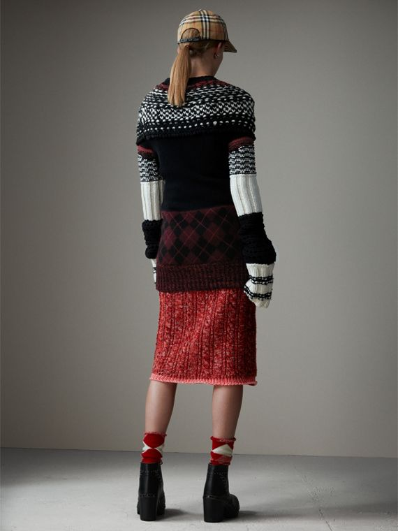 Hand-knitted Yoke Cashmere Wool Sweater in Black - Women | Burberry United States - cell image 2
