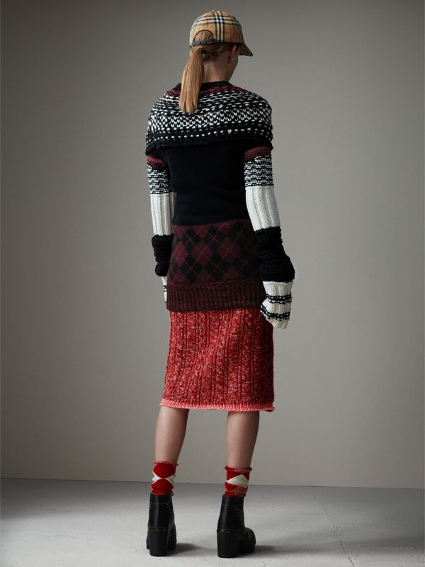 Hand-knitted Yoke Cashmere Wool Sweater in Black - Women | Burberry - cell image 2