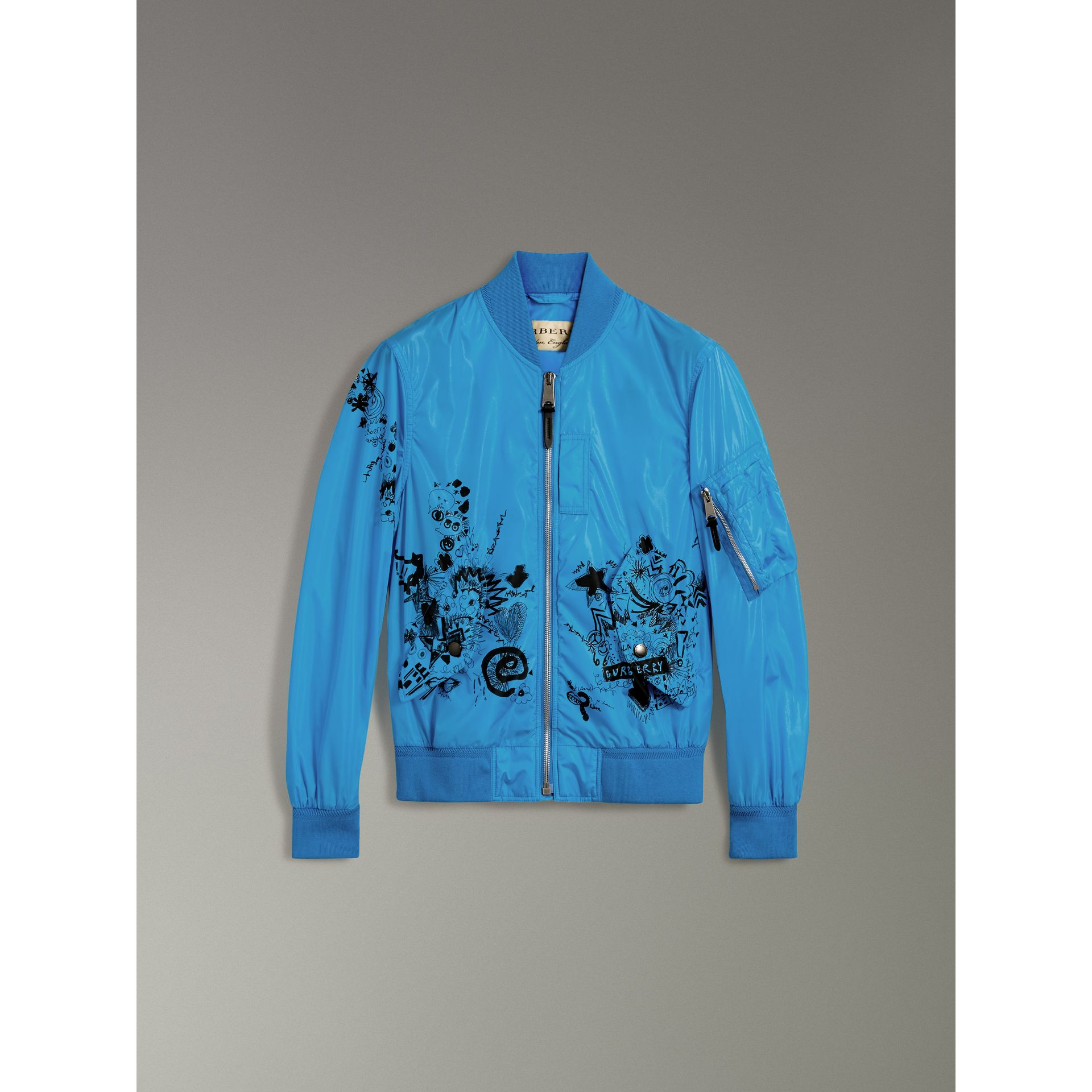 Doodle Print Bomber Jacket in Bright Blue | Burberry - gallery image 3